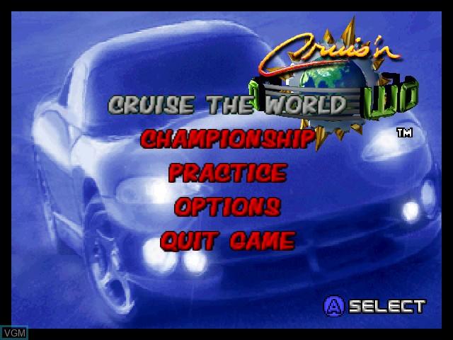 Menu screen of the game Cruis'n World on Nintendo 64