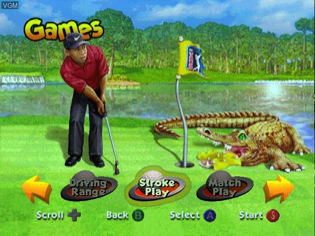 Menu screen of the game CyberTiger on Nintendo 64