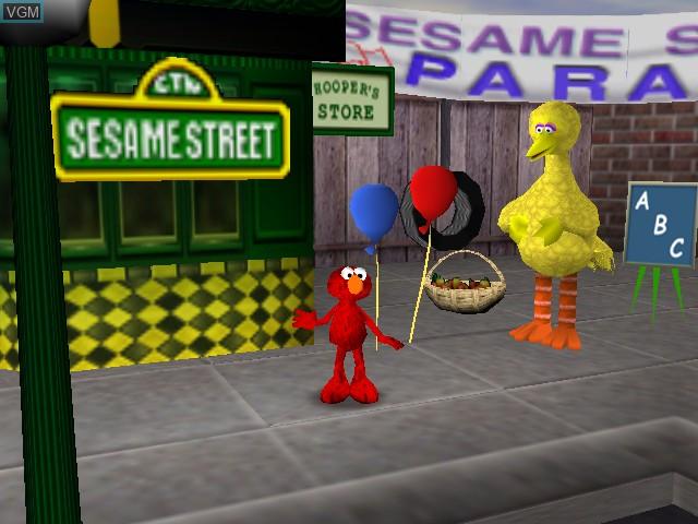Menu screen of the game Elmo's Letter Adventure on Nintendo 64