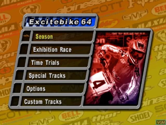 Menu screen of the game Excitebike 64 on Nintendo 64