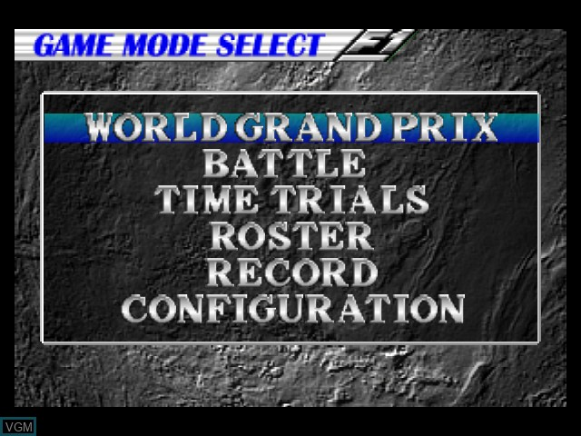 Menu screen of the game F-1 Pole Position 64 on Nintendo 64