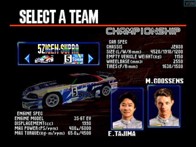 Menu screen of the game GT 64 - Championship Edition on Nintendo 64