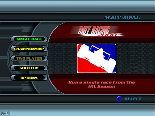 Menu screen of the game Indy Racing 2000 on Nintendo 64