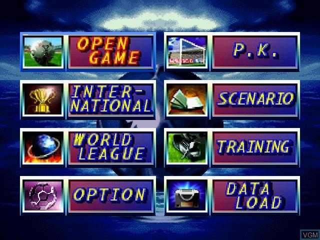Menu screen of the game International Superstar Soccer 64 on Nintendo 64