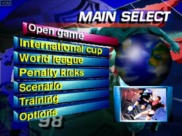 Menu screen of the game International Superstar Soccer '98 on Nintendo 64
