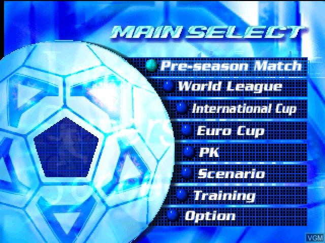 Menu screen of the game International Superstar Soccer 2000 on Nintendo 64