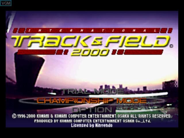 Menu screen of the game International Track & Field 2000 on Nintendo 64