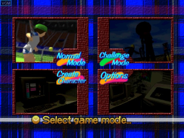 Menu screen of the game Let's Smash Tennis on Nintendo 64