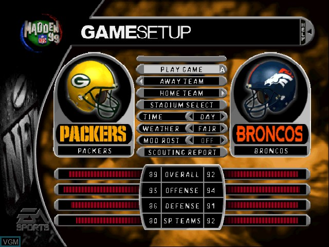 Menu screen of the game Madden NFL 99 on Nintendo 64