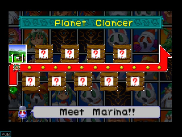 Menu screen of the game Mischief Makers on Nintendo 64