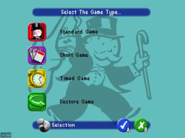 Menu screen of the game Monopoly on Nintendo 64