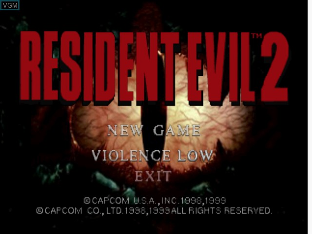 Menu screen of the game Resident Evil 2 on Nintendo 64