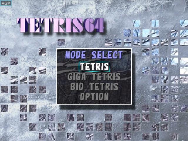 Menu screen of the game Tetris 64 on Nintendo 64