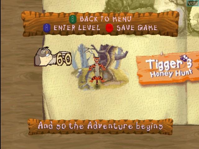 Menu screen of the game Tigger's Honey Hunt on Nintendo 64