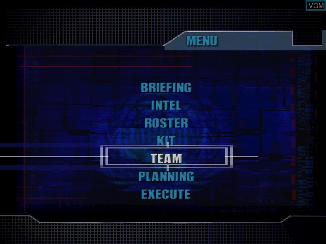 Menu screen of the game Tom Clancy's Rainbow Six on Nintendo 64