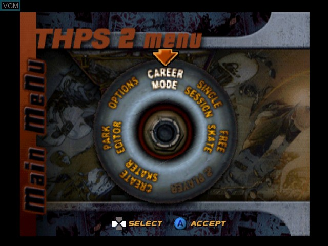 Menu screen of the game Tony Hawk's Pro Skater 2 on Nintendo 64