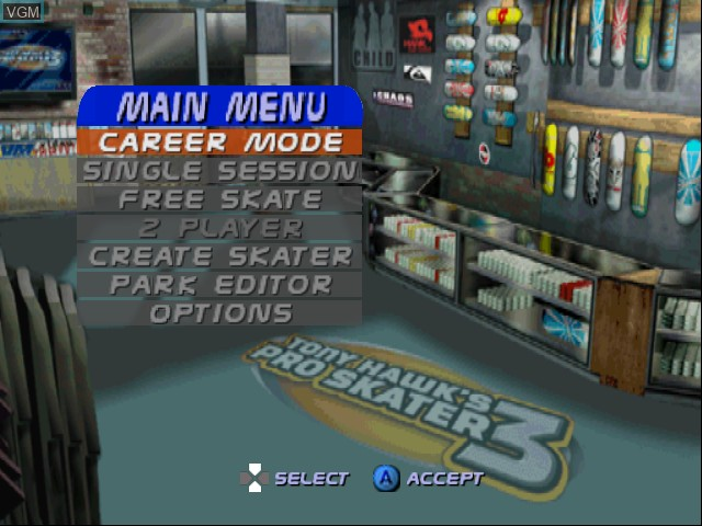 Menu screen of the game Tony Hawk's Pro Skater 3 on Nintendo 64