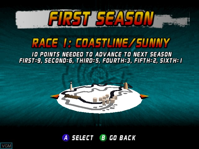 Menu screen of the game Top Gear Rally on Nintendo 64