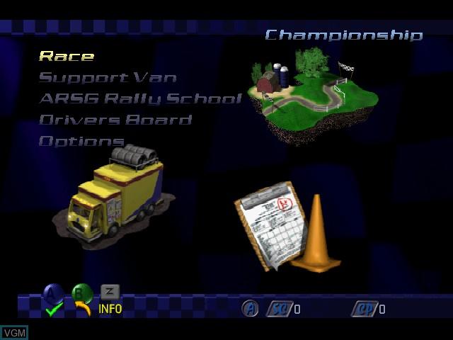 Menu screen of the game Top Gear Rally 2 on Nintendo 64