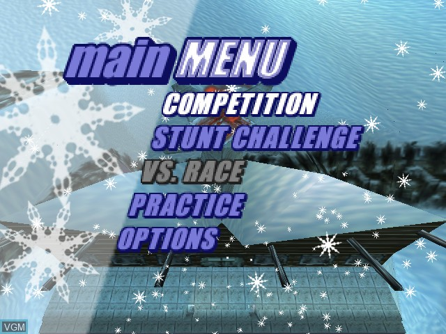 Menu screen of the game Twisted Edge Extreme Snowboarding on Nintendo 64