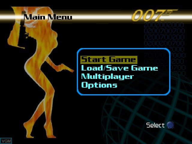 Menu screen of the game 007 - The World is Not Enough on Nintendo 64