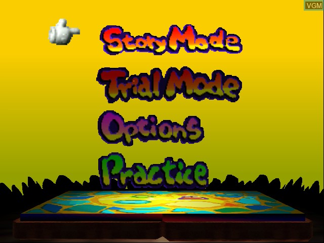 Menu screen of the game Yoshi Story on Nintendo 64