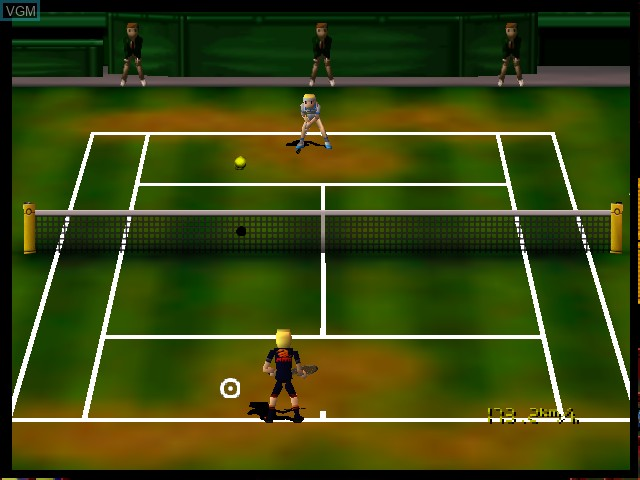 In-game screen of the game Let's Smash Tennis on Nintendo 64