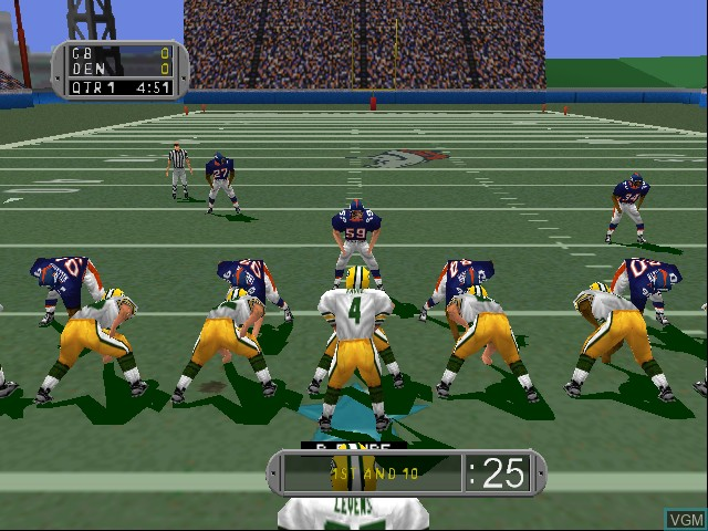 In-game screen of the game Madden NFL 99 on Nintendo 64