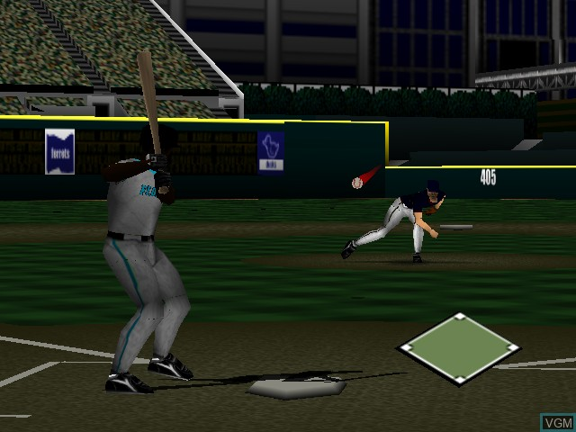 In-game screen of the game Mike Piazza's Strike Zone on Nintendo 64