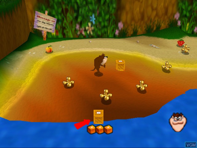 In-game screen of the game Taz Express on Nintendo 64