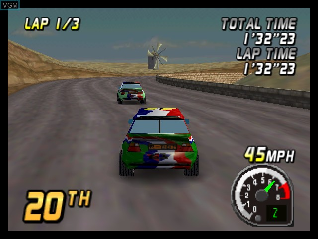 In-game screen of the game Top Gear Rally on Nintendo 64