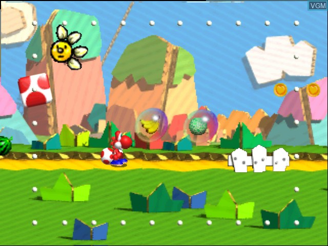 In-game screen of the game Yoshi Story on Nintendo 64