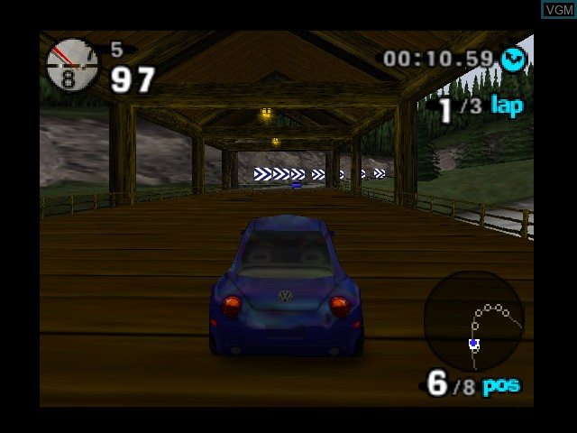 In-game screen of the game Beetle Adventure Racing! on Nintendo 64