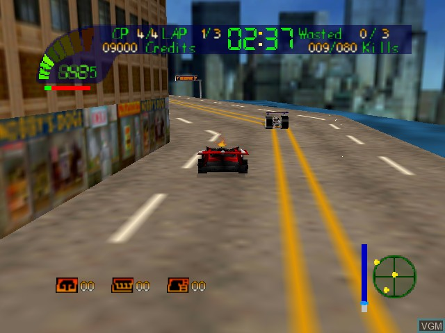 In-game screen of the game Carmageddon 64 on Nintendo 64