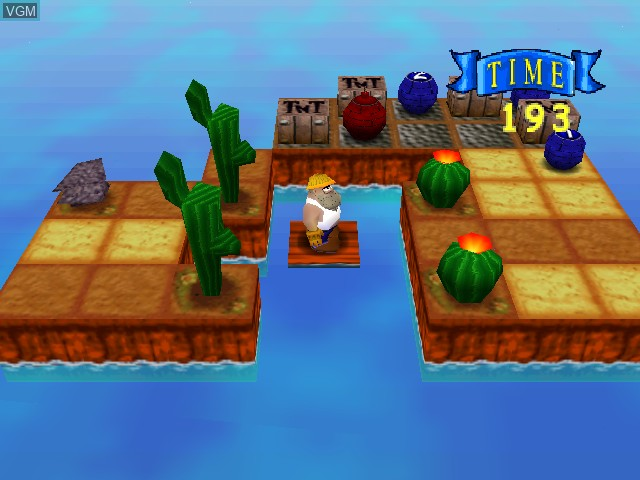 In-game screen of the game Charlie Blast's Territory on Nintendo 64