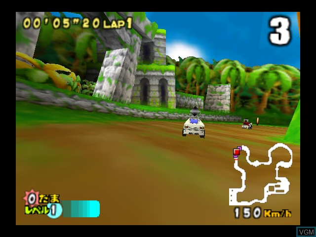 In-game screen of the game Choro Q 64 II - Hacha Mecha Grand Prix Race on Nintendo 64