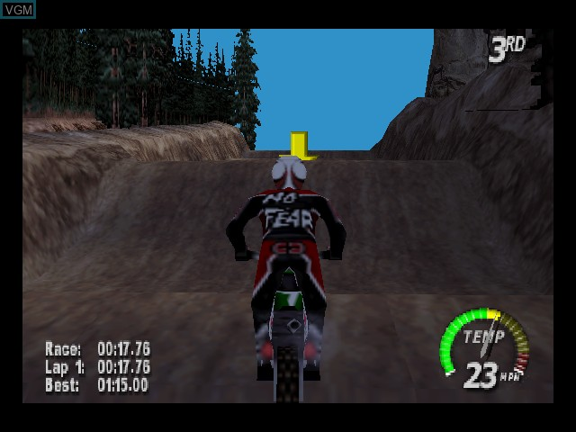 In-game screen of the game Excitebike 64 on Nintendo 64