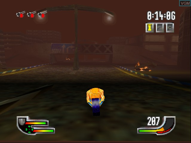 In-game screen of the game Extreme-G on Nintendo 64