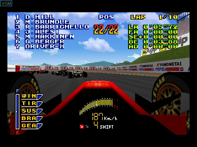 In-game screen of the game F-1 Pole Position 64 on Nintendo 64