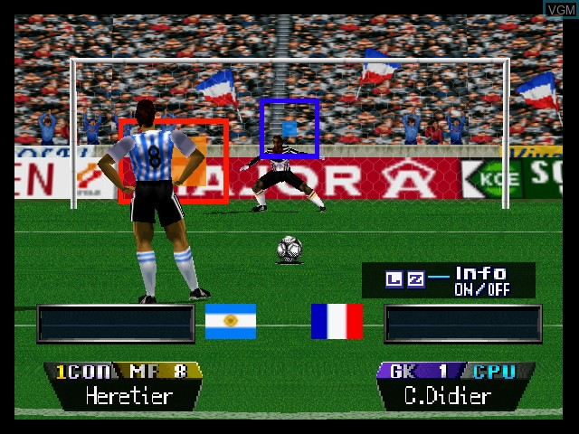In-game screen of the game International Superstar Soccer 64 on Nintendo 64