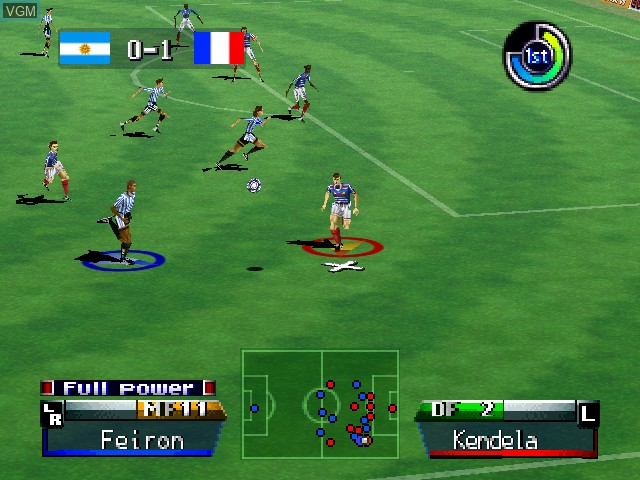 In-game screen of the game International Superstar Soccer '98 on Nintendo 64
