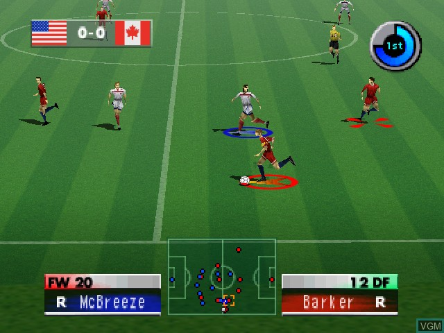 In-game screen of the game International Superstar Soccer 2000 on Nintendo 64
