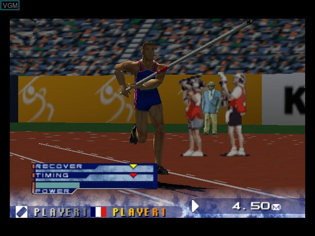 In-game screen of the game International Track & Field 2000 on Nintendo 64
