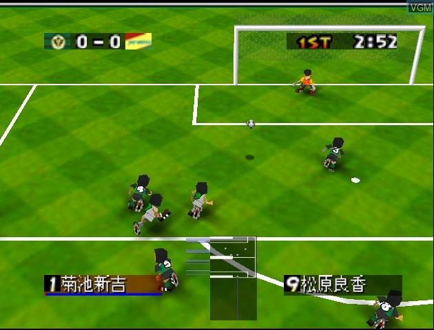 In-game screen of the game J.League Eleven Beat 1997 on Nintendo 64