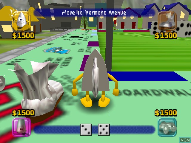 In-game screen of the game Monopoly on Nintendo 64