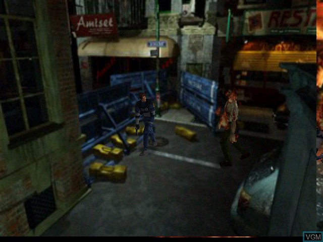 In-game screen of the game Resident Evil 2 on Nintendo 64