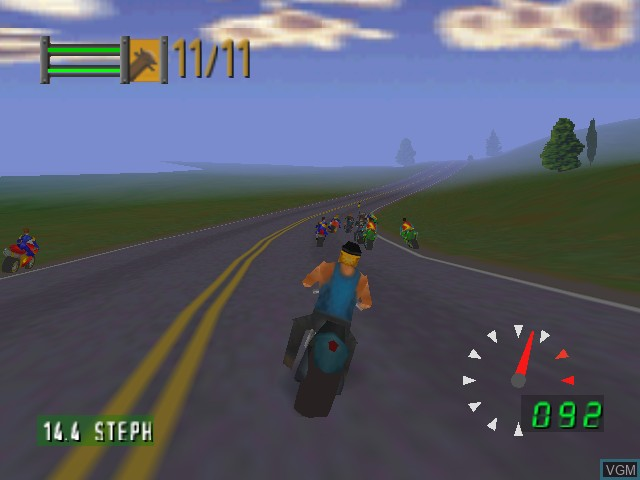 In-game screen of the game Road Rash 64 on Nintendo 64