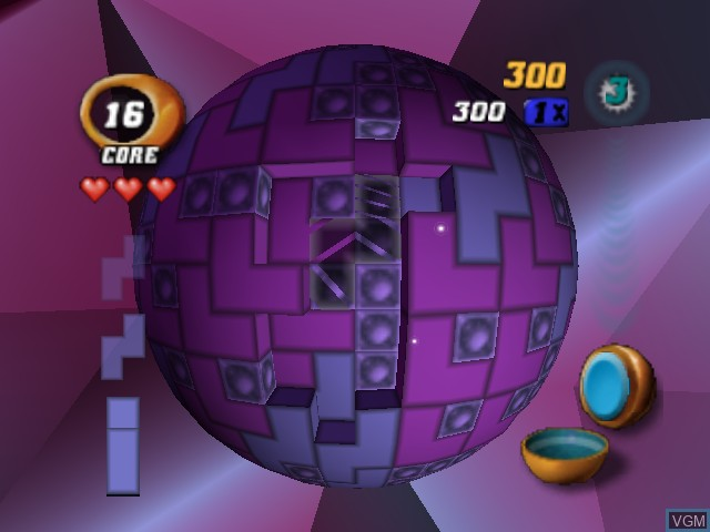 In-game screen of the game Tetrisphere on Nintendo 64