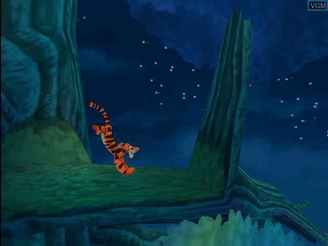 In-game screen of the game Tigger's Honey Hunt on Nintendo 64