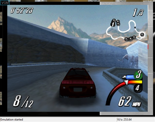 In-game screen of the game Top Gear Overdrive on Nintendo 64